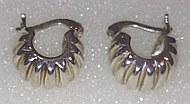 Silver Wide Corrugated detail Hoop Earrings 14mm