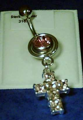 Sterling SILVER LARGE GEM SET CROSS DROPPER Naval Barbells