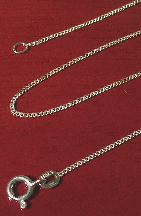 Sterling Silver Fine Curb Chain 410mm x 1mm