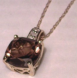 9 carat Gold 9mm Smokey Quartz Pendant Diamond set