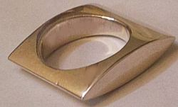 Silver SQUARE Curved Heavy Ring