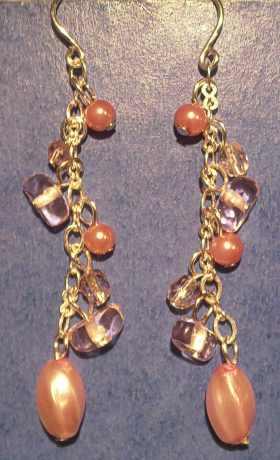 Sterling Silver long drop earrings Pink Gem set