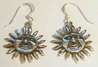 SUN design Sterling SILVER DROP EARRINGS