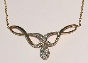 Teardrop 9ct Gold Diamond set Necklace 410mm