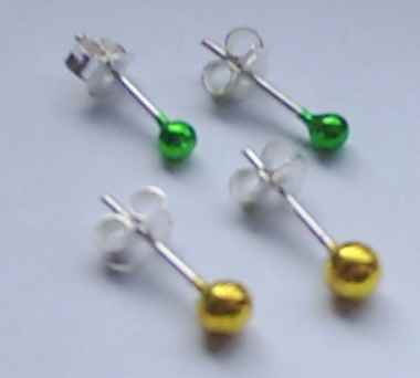 TITANIUM finish Sterling SILVER EAR STUDS (pair);