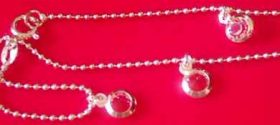 SILVER Triple Pink GEMSTONE set ANKLET