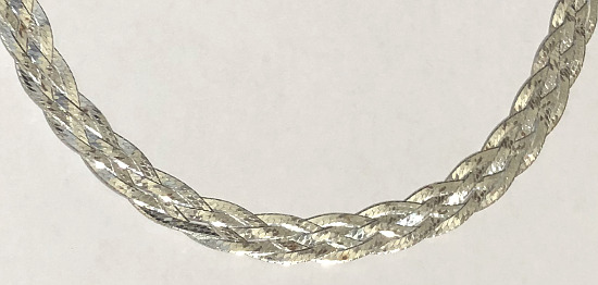 Sterling Silver Triple Woven Herringbone Necklace 460mm x 8mm wide