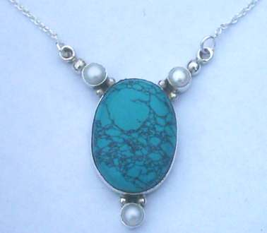 Turquoise & Pearl set Sterling Silver Pendant with Chain