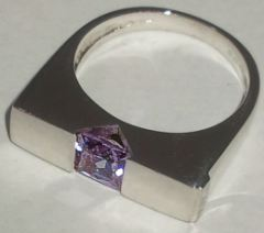 Sterling Silver Pink Stone set Triangle Ring