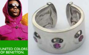 Red Gem set Silver torque United Colors of Benetton Ring