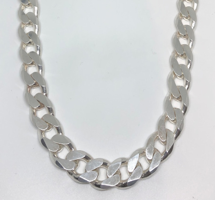 Very Heavy Curb Sterling Silver Neck Chain - 510mm