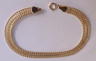 9ct Gold Wide Flat Ladies Bracelet 6mm Wide