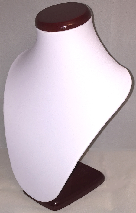 Dark Wood and White Leatherette Jewellery Bust Display 270mm
