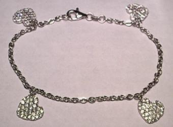 9ct White Gold Bracelet with CZ set Hearts