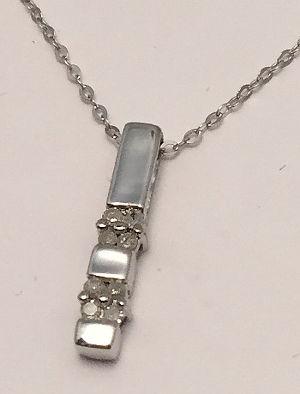 9ct White Gold Diamond set Stick Pendant