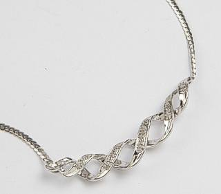 9ct White Gold Twist Diamond set Pendant Necklace