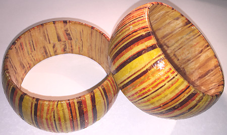 Real Wood 40mm Wide Large Bangles (Pack of 3)