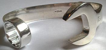 Extra Large Mens Silver 925 Spanner Bangle - 80mm
