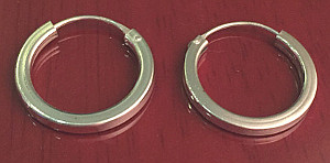 Sterling SILVER HOOPS flat edge finish