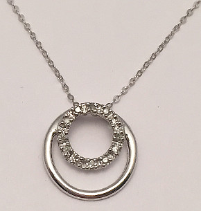 Circles Diamond set 9ct White Gold Pendant with Chain
