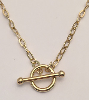 9ct Gold Belcher Chain with T Bar Toggle Clasp 420mm