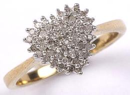 9ct Gold Diamond Heart Cluster Ring 0.25ct