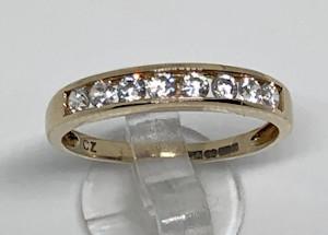 9ct Gold CZ 8 stone Ladies Ring