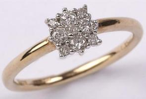 9ct Square Cluster Diamond 0.25ct Diamonds Ring
