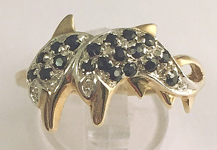9ct Gold Diamond and Sapphire set Dolphins Ring