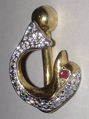 9 carat Gold CZ Ruby gems Dolphin Banana Barbell 1.6x12