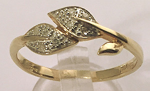 9ct Gold Diamond Leaf design Ladies Ring