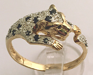 9ct Gold Leopard Diamonds and Sapphire set Ring