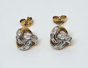 9ct Gold Diamond set Knot Studs
