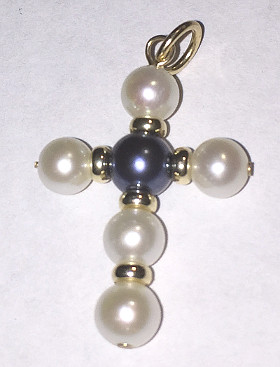 9ct Gold Pearl Cross Pendant