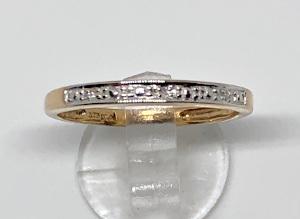 9ct Gold Half Eternity Diamond Band Ring 2mm