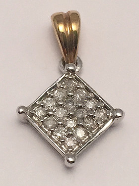 9ct Gold Pave set 0.15Ct Diamonds Pendant