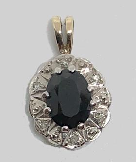 9ct Gold Sapphire and Diamonds Pendant