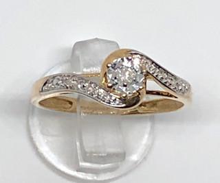 9ct Gold Swirl Diamond Solitaire Ring