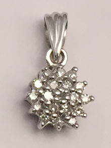 9ct White Gold 0.10 Carat Diamond Cluster Pendant