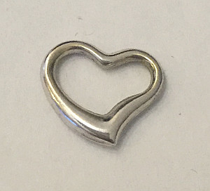9ct White Gold Open Heart 12mm