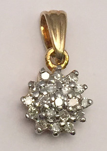 9ct Yellow Gold 0.10 Carat Diamond Cluster Pendant