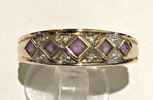 9ct Gold Amethyst Diamonds Ring