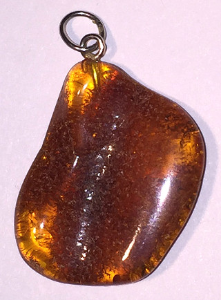 Amber Large freeform Oval 30mm Silver Pendant #026
