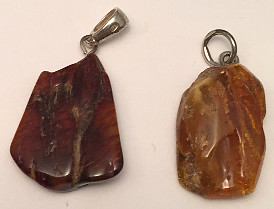 Freeform Orange Amber Silver Pendant rough polished 25mm