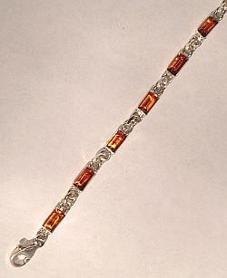 Sterling Silver Amber set Bars Bracelet 190mm