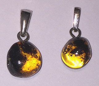 Amber part clear Round Silver Pendant 10mm
