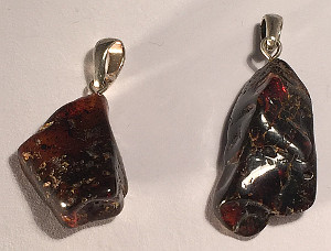 Freeform Dark Amber Silver Pendant rough polished 25mm