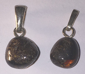 Amber Sterling Silver Pendant rough round 10mm