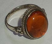 Fancy Rope setting Amber Silver Ring