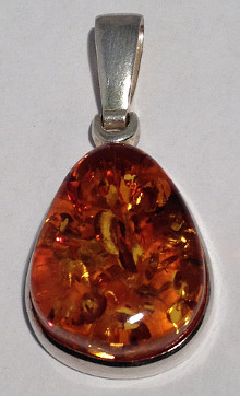 Sterling Silver Large Tear Amber Pendant